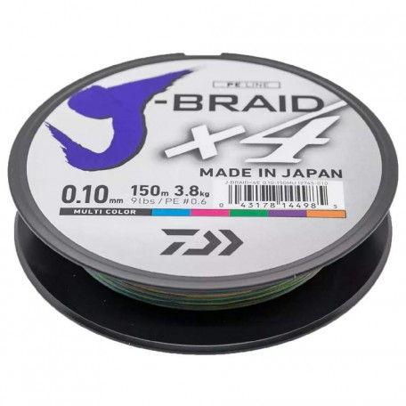 Шнур Daiwa J-Braid X4E 150m Multi Color 0.10mm 3.8kg