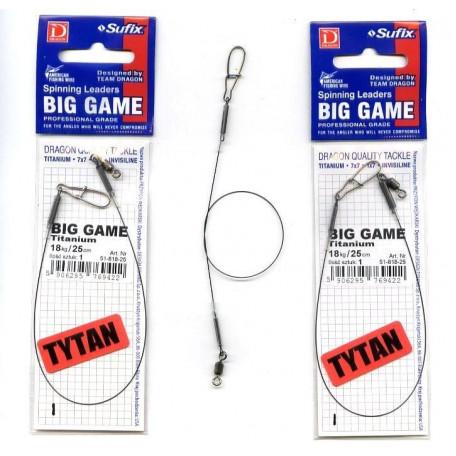 Поводок титановый Dragon Big Game Titanium 18kg 15sm