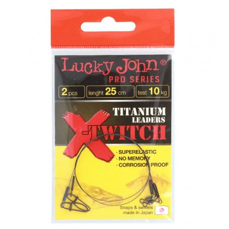 Поводки титановые Lucky John X-TWITCH 20см 20кг (2шт)