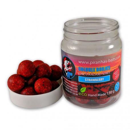 Пылящие насадочные бойлы Soluble Boilies Euro Series Strawberry 20mm 150g