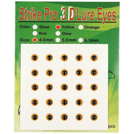 Глаза Strike Pro 3D для воблера 4мм желтые